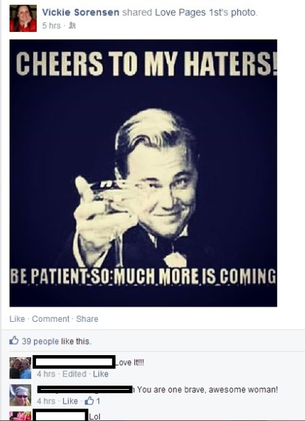 vickie sorensen cheers to my haters